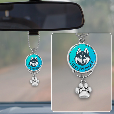 I Love My Husky Blue Rearview Mirror Charm