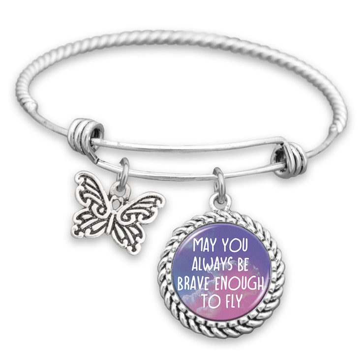 May You Always Be Brave Enough To Fly Butterfly Charm Bracelet