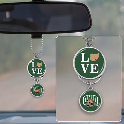 Ohio Bobcats Love Rearview Mirror Charm