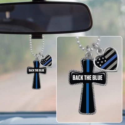 Back The Blue Line Cross Rearview Mirror Charm