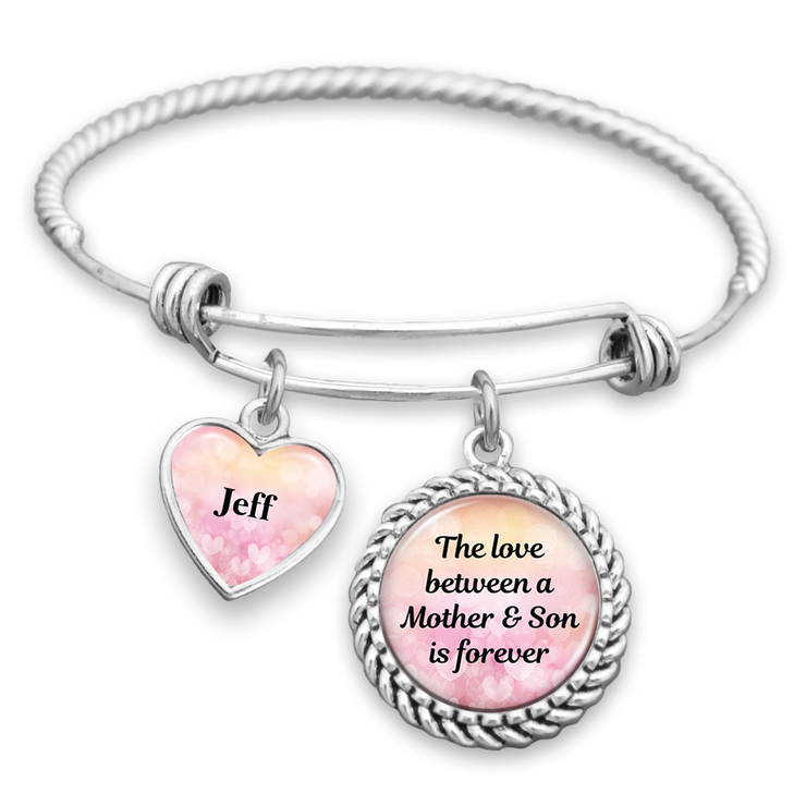 Customizable Love Between Mother & Son Is Forever Charm Bracelet