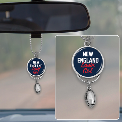 New England Lovin' Girl Football Rearview Mirror Charm