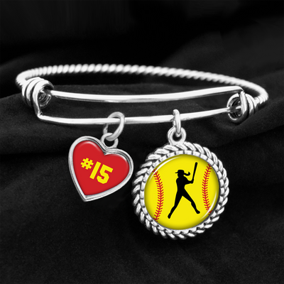 Customizable Softball Player Heart Charm Bracelet