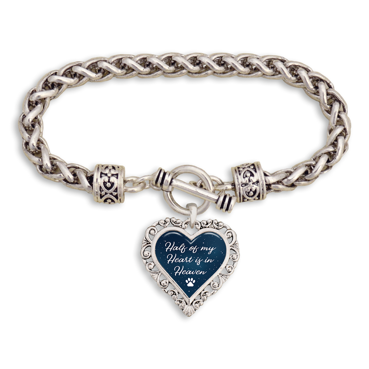 Half Of My Heart Is In Heaven Paw Heart Clasp Bracelet