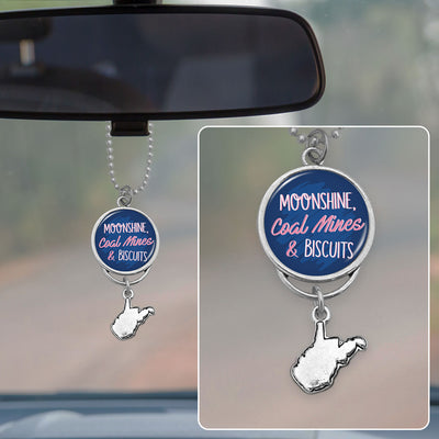 Moonshine Coal Mines And Biscuits West Virginia Rearview Mirror Charm