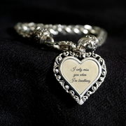 Miss You When I'm Breathing Heart Clasp Bracelet