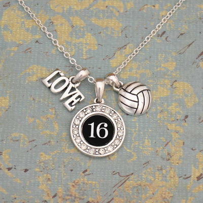 Custom Number Volleyball 3-Charm Necklace