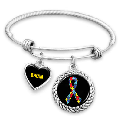 Personalized Autism Awareness Ribbon Charm Bracelet
