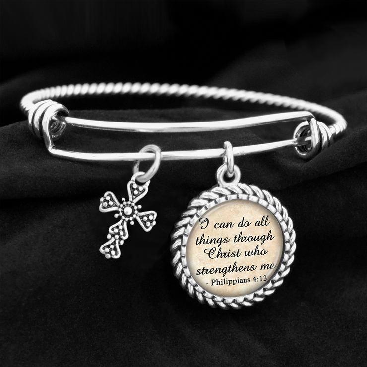 I Can Do All Things Philippians 4:13 Bangle Charm Bracelet