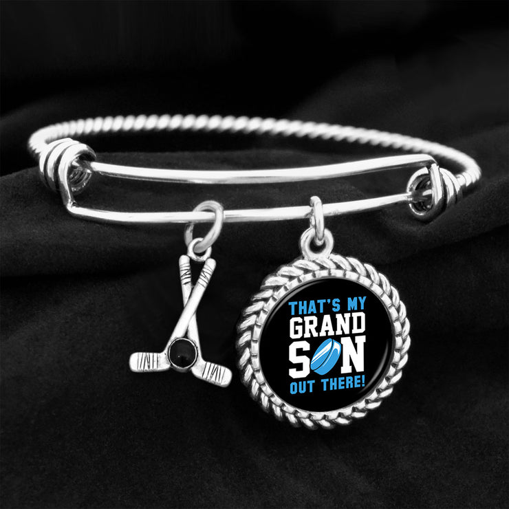 Hockey That's My Grandson Out There Charm Bracelet