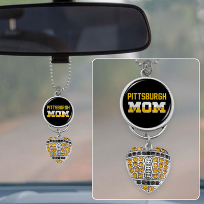 Pittsburgh Mom Crystal Football Rearview Mirror Charm