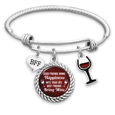 Best Friends Bring Wine Charm Bracelet