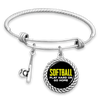Softball: Play Hard Or Go Home Charm Bracelet