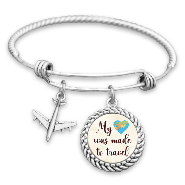 My Heart Was Made To Travel Charm Bracelet