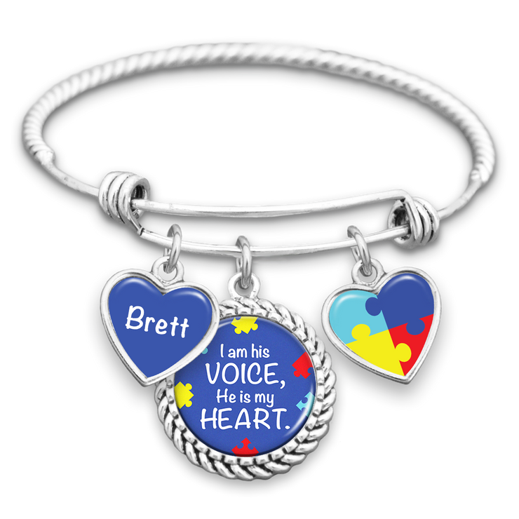Customizable I Am His Voice, He Is My Heart Autism Awareness Charm Bracelet