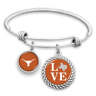 Texas Longhorns Love Charm Bracelet