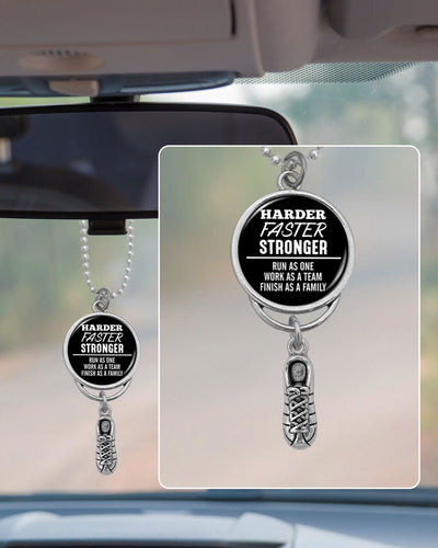 Harder Faster Stronger Run As One Rearview Mirror Charm