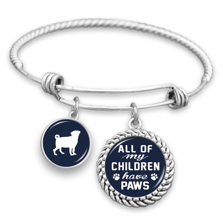 All Of My Children Have Paws Pug Charm Bracelet