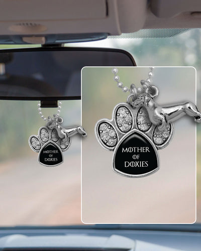 Mother Of Doxies Crystal Paw Rearview Mirror Charm