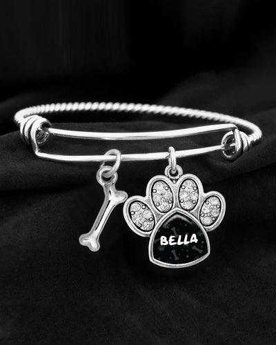 Customizable Pet Name Crystal Paw Charm Bracelet