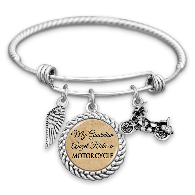 My Guardian Angel Rides A Motorcycle Charm Bracelet