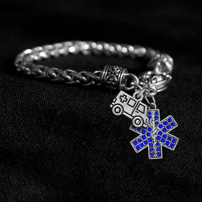 Crystal Star Of Life and Ambulance Silver Braided Clasp Charm Bracelet
