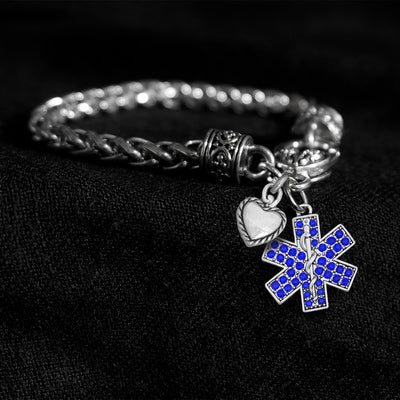Crystal Star Of Life Silver Braided Clasp Charm Bracelet