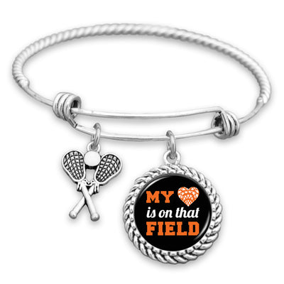 My Heart Is On That Field Lacrosse Charm Bracelet