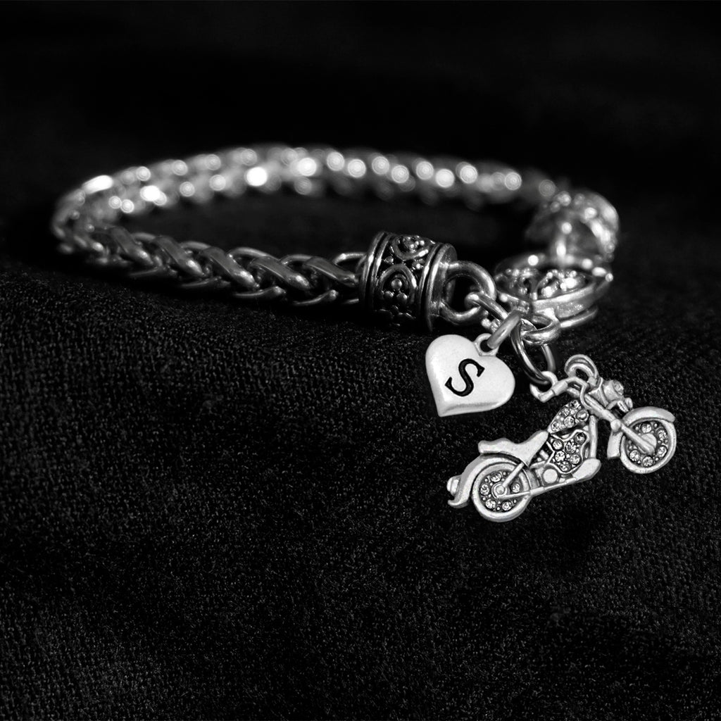Customizable Letter Crystal Motorcycle Silver Braided Clasp Charm Bracelet