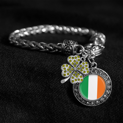 Irish Flag Silver Braided Clasp Charm Bracelet