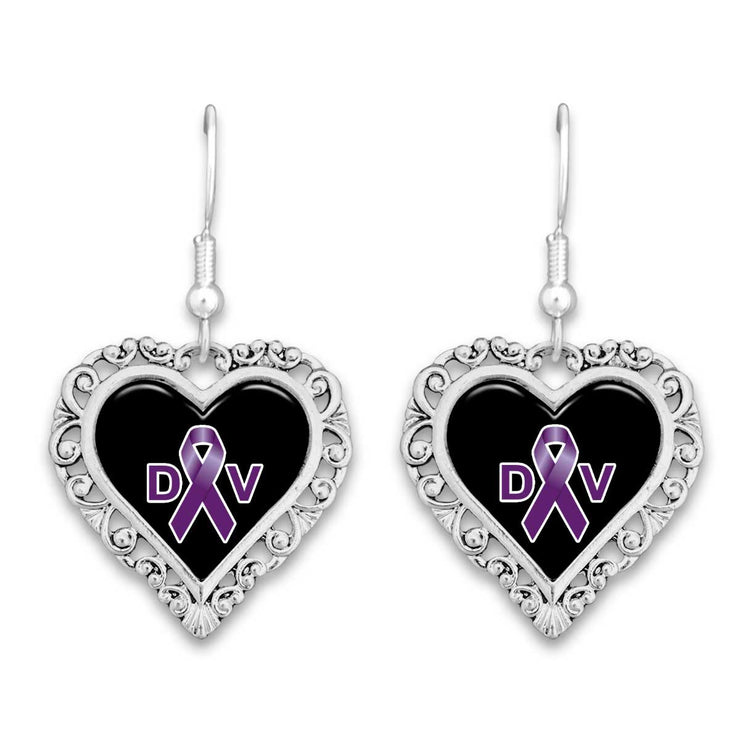 Domestic Violence Awareness Lace Trim Earrings