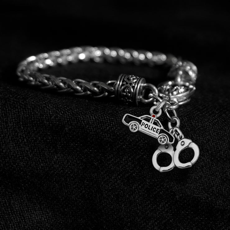 Police Car and Handcuffs Silver Braided Clasp Charm Bracelet