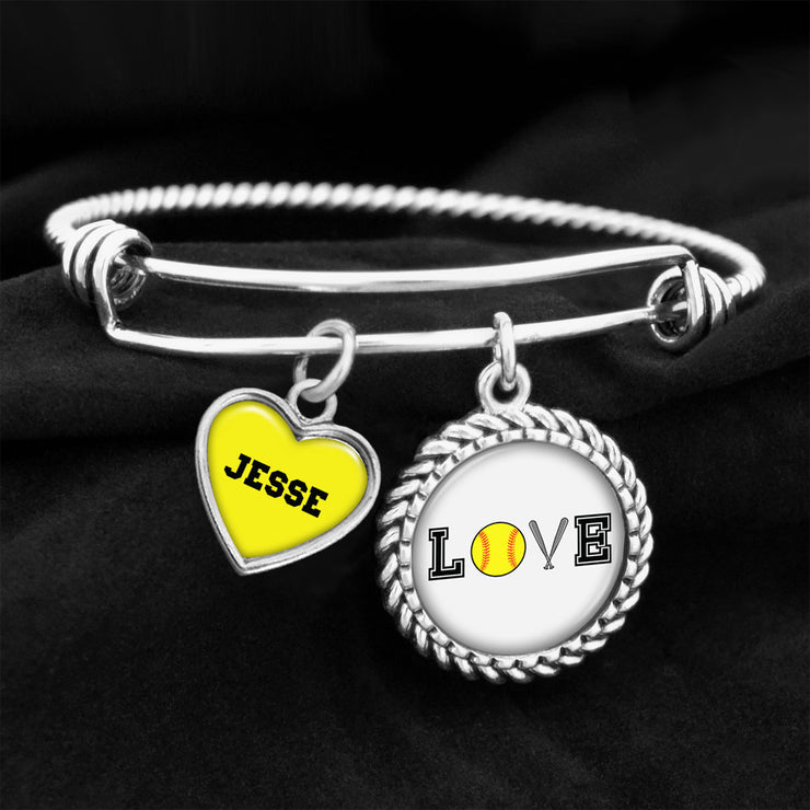 Customizable Softball LOVE Icons Charm Bracelet