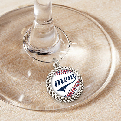 Baseball Mom Wine Glass Charm