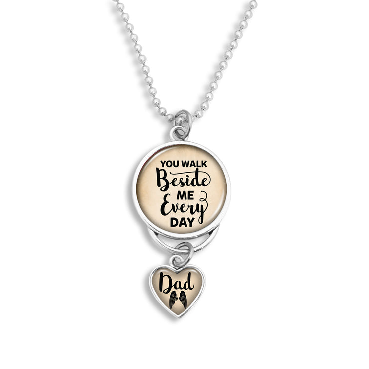 Dad You Walk Beside Me Every Day Rearview Mirror Charm