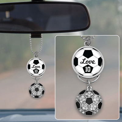 Soccer Love Personalized Number Rearview Mirror Charm
