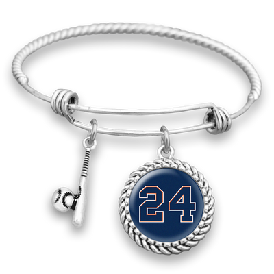 Detroit Baseball Personalized Number Charm Bracelet