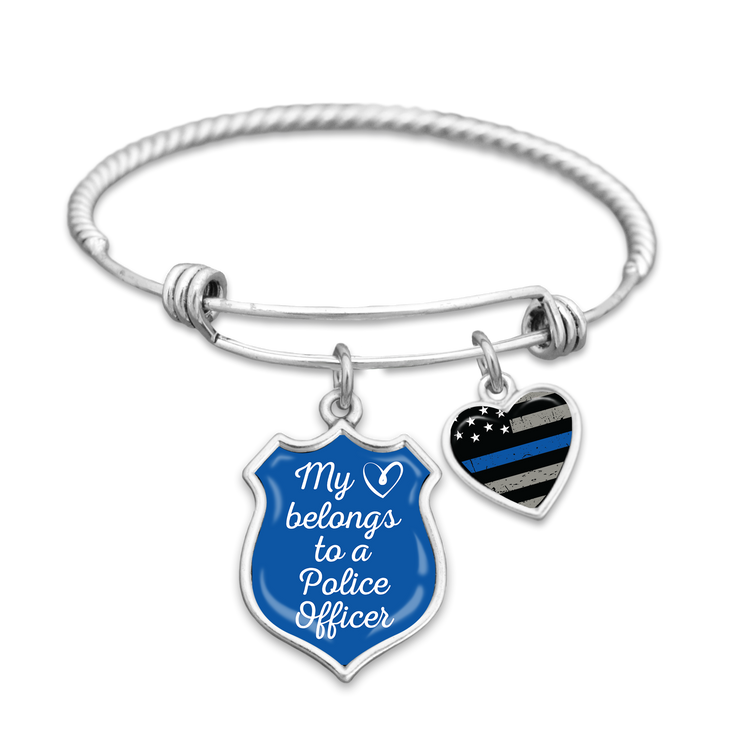 My Heart Belongs To A Police Officer Thin Blue Line Charm Bracelet