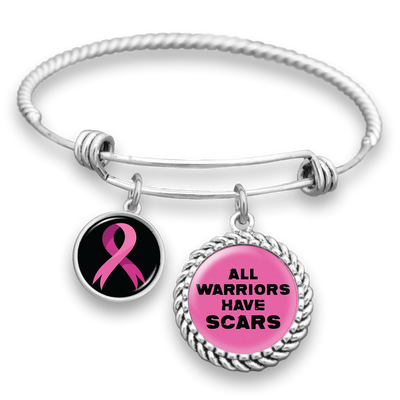 All Warriors Have Scars Breast Cancer Charm Bracelet