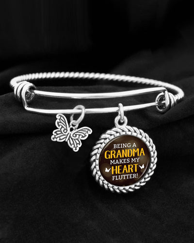 Being A Grandma Makes My Heart Flutter Charm Bracelet