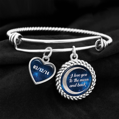 Customizable I Love You To The Moon And Back Charm Bracelet