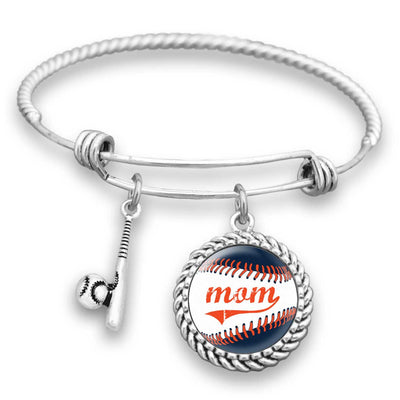 Detroit Baseball Mom Charm Bracelet
