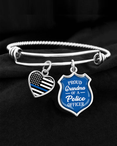Proud Grandma Of A Police Officer Charm Bracelet