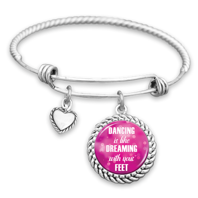 Dancing Is Like Dreaming With Your Feet Charm Bracelet