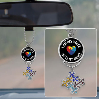 I Am His Voice Crystal Puzzle Pieces Autism Awareness Rearview Mirror Charm