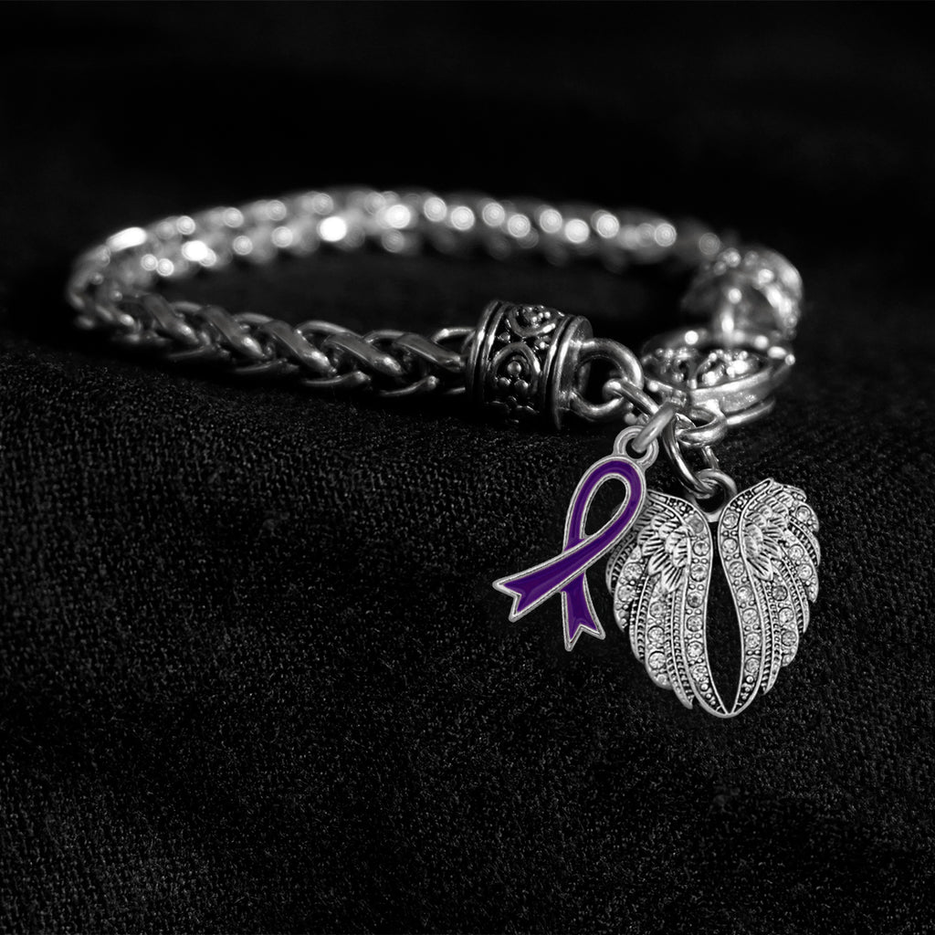 Angel Wings Purple Awareness Ribbon Silver Braided Clasp Charm Bracelet