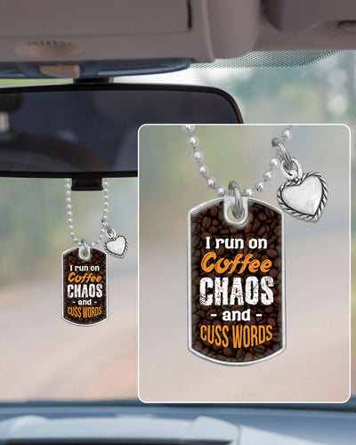 Coffee Chaos Cuss Words Dog Tag Rearview Mirror Charm