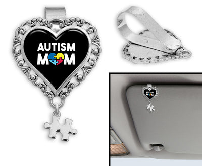 Autism Mom Awareness Heart Auto Visor Clip