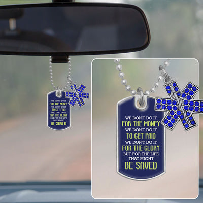 For The Life That Might Be Saved Dog Tag Rearview Mirror Charm