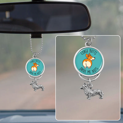 Corgi Butts Drive Me Nuts Rearview Mirror Charm